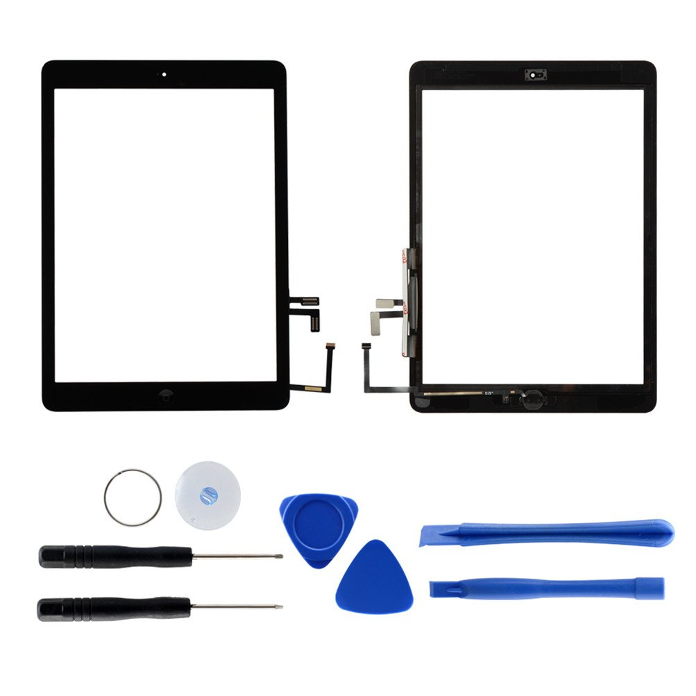 Touch Screen Digitizer Replacement for iPad air 1st Generation A1474 A1475 A1476 GSM CDMA, 9.7'' Front Glass Repair Kit Include Home Button and pre-install Adhesives (Black)