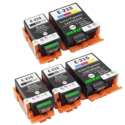 INKWAYW Replacement 215 T215 T215120 T215530 Ink Cartridge (3 Black, 2 Color) - 5 Pack For WF-100 printer