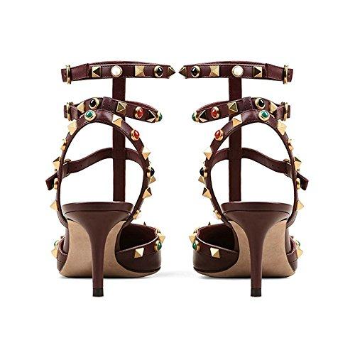 MERUMOTE - Zapatos de tacón alto con remaches Mujer Burgund-Matt