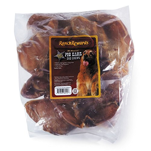 Ranch Rewards Natural Pork Smoked Pig Ears  -  Delicious Treats for Dogs, 12-Count