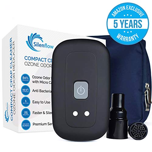 SilenFlow CPAP Cleaner and Sanitizer [Matte Black] Goodbye to Ozone Smell with The Most Innovative Carbon Filter [Premium Travel Bundle] Includes Sanitizer Bag All CPAP Compatible Heated Hose Adapter
