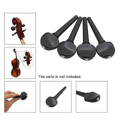 Andoer 4pcs 4/4 Cello Tuning Accessory Part Kit Ebony Cello Peg Musical Instruments Tool