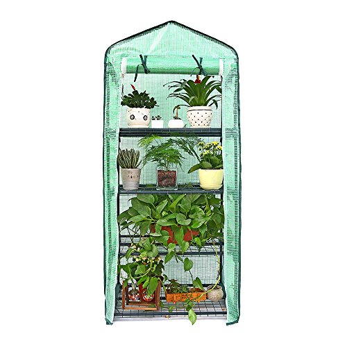 Ohuhu Mini Greenhouse, Small Plant Greenhouses, 4 Tier Rack Stands Portable Garden Green House for Outdoor & Indoor, 1.5 x 2.25 x 5.25 FT -