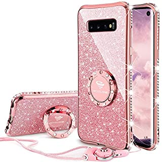OCYCLONE Galaxy S10 Case, Glitter Cute Phone Case for Women Girls with Kickstand, Bling Diamond Rhinestone Bumper with Ring Stand Compatible with Samsung Galaxy S10 Case for Girl Women, Rose Gold Pink