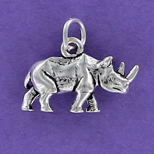 Africa Rhinoceros Horn - Rhinoceros Charm Sterling Silver for Bracelet Horn Large Rhino Zoo Africa Mammal Jewelry Making Supply, Pendant, Charms, Bracelet, DIY Crafting by Wholesale Charms