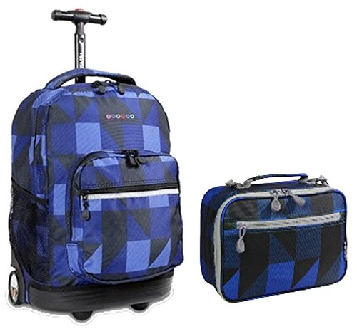 j-world-block-navy-sunrise-roller-backpack-back-pack-and-cody-lunch-bag-bundle-set