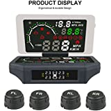 AUTOOL X360 5.8'' Car HUD Head Up Display Reflective Film 3 IN 1 AUTO OBD Smart Car HUD Holder Mount Multi-Function With TPMS System KMH/MPH Air Leak, Low & high Voltage,Temperature, Electricity Alarm