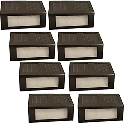 (8 Pack) Reusable Revolution Solar Outdoor LED Stair Lights (Brown)