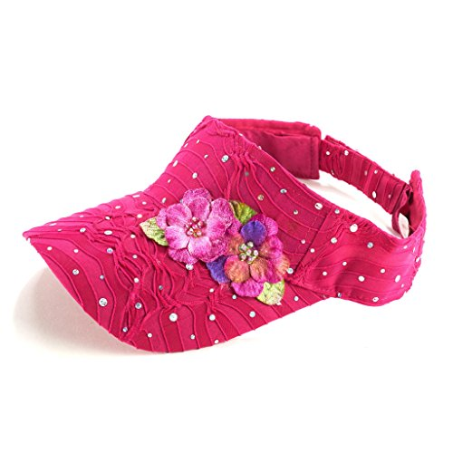 Glitter Sequin Visor with Flowers for Ladies