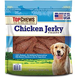 Top Chews Chicken Jerky Fillets 100% Natural Dog Treats (Made in the USA) - 3 lbs