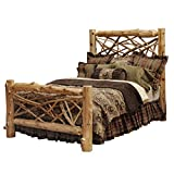 King Size Log Bed Frame Fireside Lodge Furniture 10013-CK Traditional Cedar Hand Crafted and Hand Lacquered Northern White Cedar Twig Log California King Size Bed, Complete Bed Traditional Cedar, California King Size Complete Set