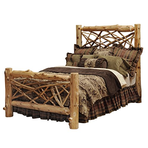 Fireside Lodge Furniture Traditional Cedar Hand Crafted and Hand Lacquered Northern White Cedar Twig Queen Size Bed, Complete Bed Traditional Cedar, Queen Size Complete Set