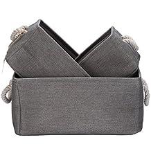 Sea Team Foldable Multi-sized Square New 100% Natural Linen & Cotton Fabric Storage Bins Storage Baskets Organizers - Set of 3 (Grey)