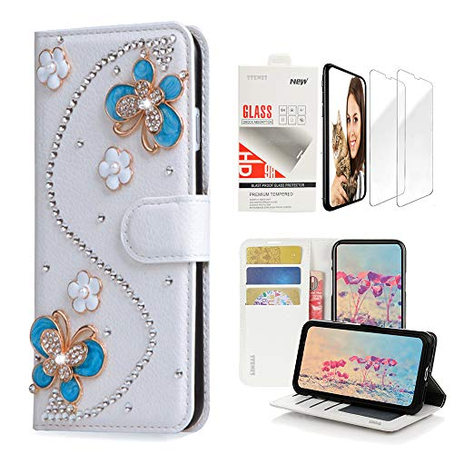 STENES Bling Wallet Case Compatible with LG V40 ThinQ - 3D Handmade S-Link Flowers Butterfly Design Leather Case with Wrist Strap & Screen Protector [2 Pack] - Blue