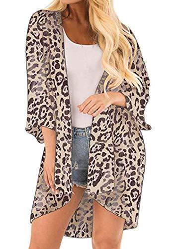 (Finoceans Ladies Sheer Chiffon Cardigans Summer Batwing Kimonos Leopard Print M)