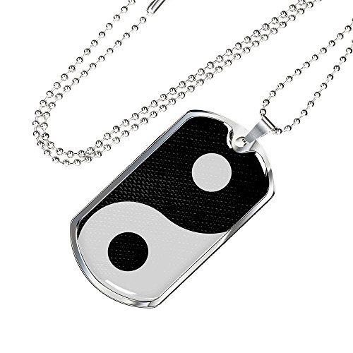 (Express Your Love Gifts Yin Yang Stainless Steel Silver Tone Military Dog Tag Necklace w 24