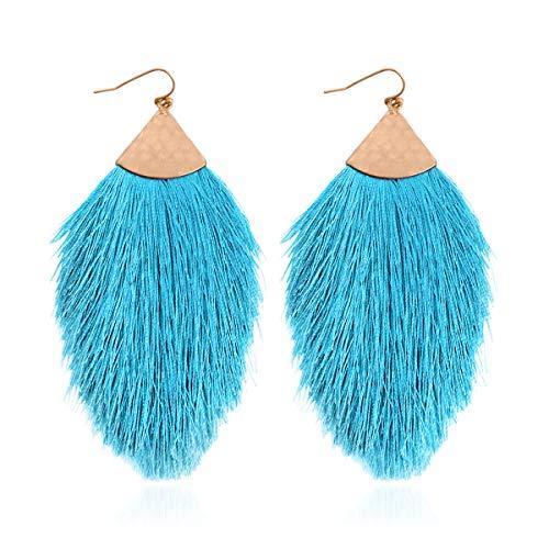 Bohemian Silky Thread Fan Tassel Statement Drop - Vintage Gold Feather Shape Strand Fringe Lightweight Hook/Acetate Dangles Earrings/Long Chain Necklace (Earrings Feather Fringe - Aqua Blue)
