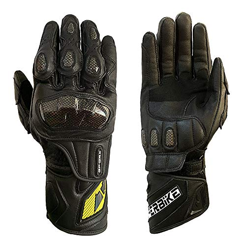 Full finger Carbon Fiber Motorcycle Gloves for Men GP-PRO Genuine Leather Motor Racing Gloves (Black, Large)
