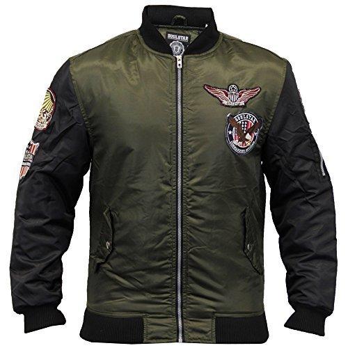 Herren MA1 Jacke Soul Star Mantel Harrington Gepolstert Orden Militär Gefüttert Winter Neu - Khaki - MAZTEKBADB, X-Large