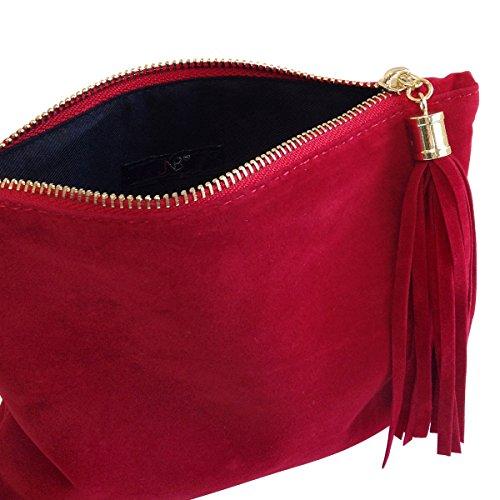 Red Faux JNB Foldover Mini Microsuede Pouch Women's fcqFA