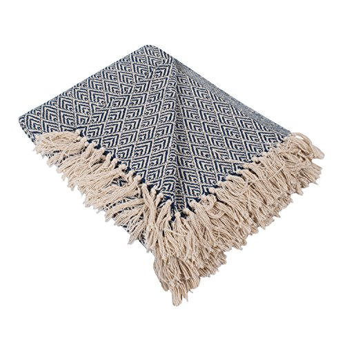 DII Rustic Farmhouse Cotton Diamond Blanket Throw with Fringe for Chair, Couch, Picnic, Camping, Beach, Everyday Use, 50 x 60 - Diamond Nautical Blue -