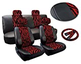 zebra stripe seat covers - 13 Piece Zebra Stripes Print Deluxe Leatherette Full Car Seat Cover Set Premium Synthetic Leather Double Stitched - Low Back Front Bucket Seats - Rear Bench Plus FREE Steering Wheel Set (Red and Black Zebra)