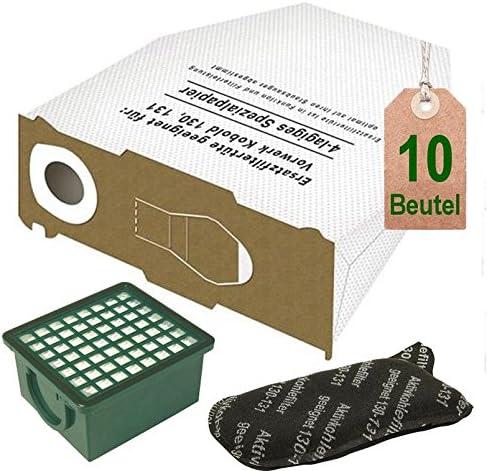 Blanco 10 bolsas de aspiradora con filtro Set para Vorwerk Kobold VK 130, Kobold VK 131 y 131 SC: Amazon.es: Hogar
