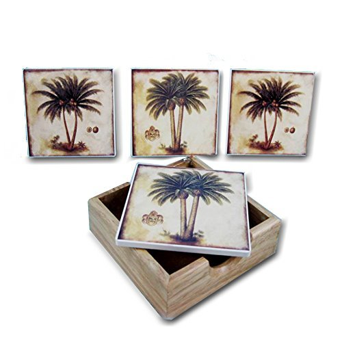 - 4 Piece Palm Tree Coasters With Holder