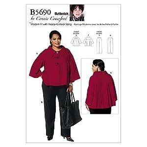 Butterick 5690 MISS - Patrón de costura para chaquetas, pantalones de mujer (talla XS-S-M-L-XL