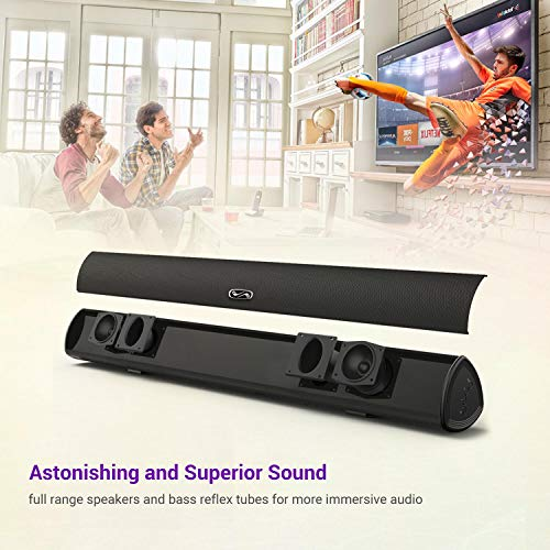 Sound Bar, BYL Soundbar for TV, Wired & Wireless Bluetooth 5.0 Speaker, Home Theater Surround Sound System (28 Inch, Infrad Remote Control, DSP, Bass Adjustable)