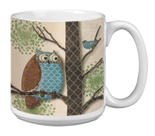 Tree-Free Greetings Extra Large 20-Ounce Ceramic Coffee Mug, Fantasy Owls Panel I Themed Paul Brent Art (XM29514)
