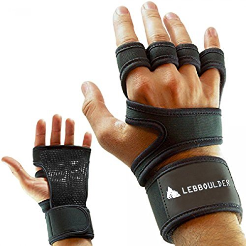 Workout Gloves , Weight lifting gloves with Wrist Support for Fitness, WOD, Gym Cross Training & Powerlifting - Silicone Padding to avoid Calluses - Suits Men & Women, Strong Grip (Black, Medium)