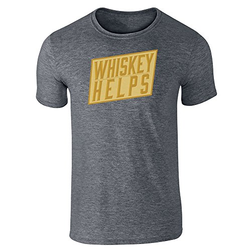 Pop Threads Whiskey Helps Dark Heather Gray XL Short Sleeve T-Shirt (Single Cask Malt)