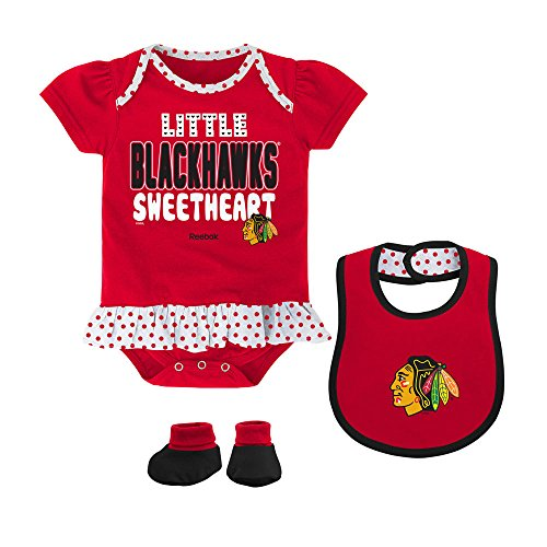 Chicago Blackhawks Newborn / Infant Creeper, Bib & Bootie Set by Reebok Select Infant / Toddler / Youth Size: 6/9 ()