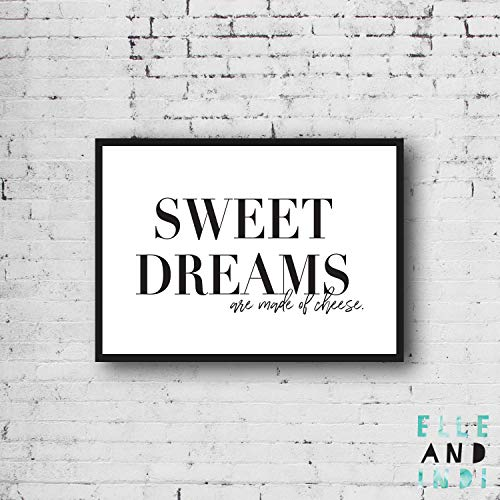 Arvier Sweet Dreams are Made of Cheese Modern Monochrome Typography Pun Lyrics Funny Black White Wall Art Poster Framed Wall Art