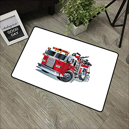 (Door mat W24 x L35 INCH Truck,Fire Brigade Vehicle Emergency Aid for Public Firefighter Transportation Themed Lorry,Grey Red Non-Slip, with Non-Slip Backing,Non-Slip Door Mat Carpet)