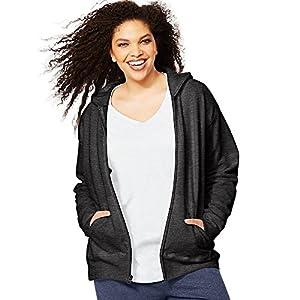 Just My Size Women's Fleece Full-Zip Hoodie, Slate Heather, 1X
