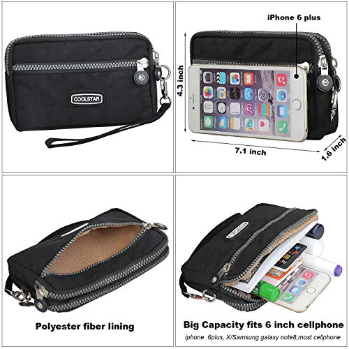 3 Zippers Clutch Wallet Waterproof Nylon Cell phone Purse Wristlet Bag Money Pouch for Women (Black) by Coolstar (Image #5)