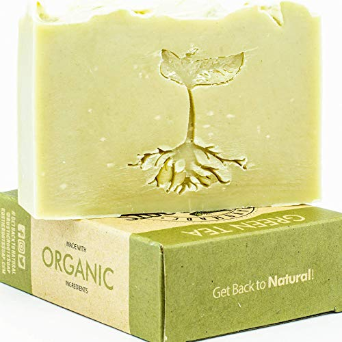 (Green Tea Soap - Handmade with Green Tea & Lemongrass Essential Oil, All Natural Glycerin Soap Bar Made w/Organic Ingredients, Handcrafted in USA 4.7oz )