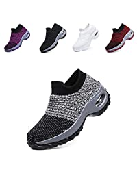 LIN&LE Women's Walking Shoes Sock Sneakers - Mesh Slip On Air Cushion Lady Girls Modern Jazz Dance Easy Shoes Platform Loafers
