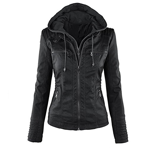 Pop lover Women's Hooded Faux Leather Motorcyle Jacket Detachable Full Zipper Outerwear Black XL