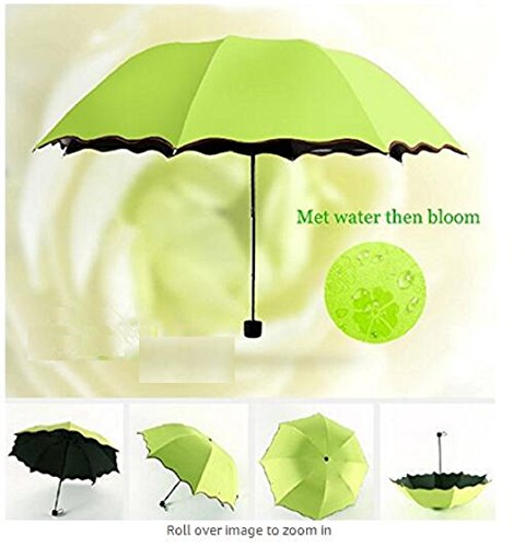 Wendin triple Folding Umbrella Bloom Flower in Rain Water Fashion Exquisite Windproof Sunshade for Women Girl Outdoor Sports Camping Walk Travel Parasol UV Protection Dome (Pretty Parasol)