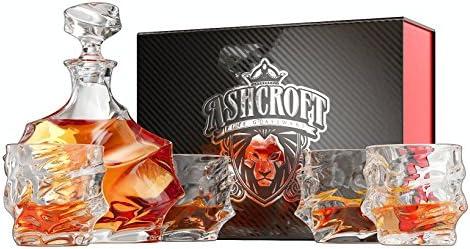 5 piezas Juego de decantador de Whiskey de Everest. 4 copas y ...