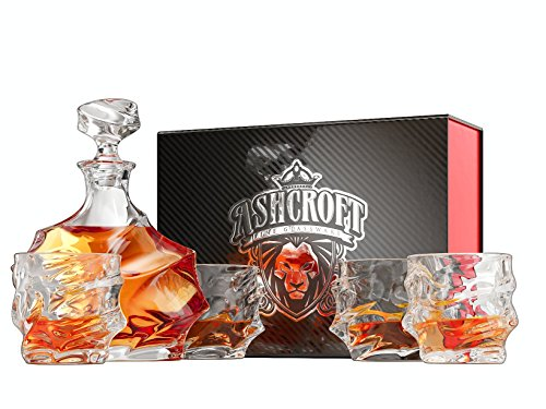 Decanters Glassware - 5-Piece Everest Whiskey Decanter Set. 4 Glasses and Scotch Decanter with Stopper. Unique Elegant Dishwasher Safe Glass Liquor Bourbon Decanter Ultra - Clarity Glassware by Ashcroft