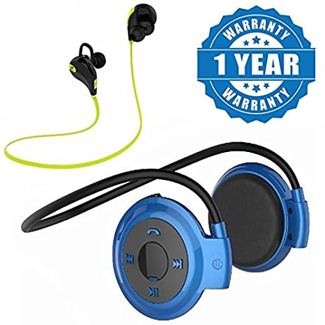 Drumstone Mini Folding 503 Neckband Sports Wireless Mp3 Headset and Jogger Wireless Bluetooth Headphones with Mic