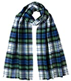 Johnstons of Elgin Unisex Campbell of Argyll Extra Fine Tartan Scarf - White/Blue/Green