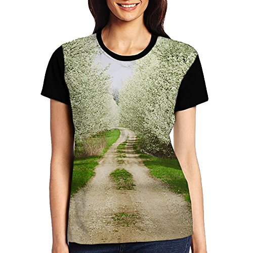 (Quzim Country Road Full Of Pear Flower Jersey Baseball Tee T Shirts For Women Tshirt)