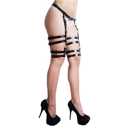d8a87c0434b CKMORLS Women s PU Leather Body Harness Belt Adjustable Punk Waist Leg  Garter Belt(005Black)