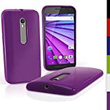 iGadgitz Solid Purple Glossy TPU Gel Skin Case Cover for Motorola Moto G 3rd Generation 2015 XT1540 (G3) + Screen Protector