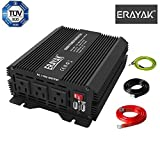 ERAYAK 800W Power Inverter TUV Listed, DC 12V to 110V AC Car Converter with 3 AC Outlets Dual USB Ports for Office Travel RV Car Camping Home Use